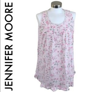 JENNIFER MOORE PINK AND WHITE FLORAL TOP MEDIUM